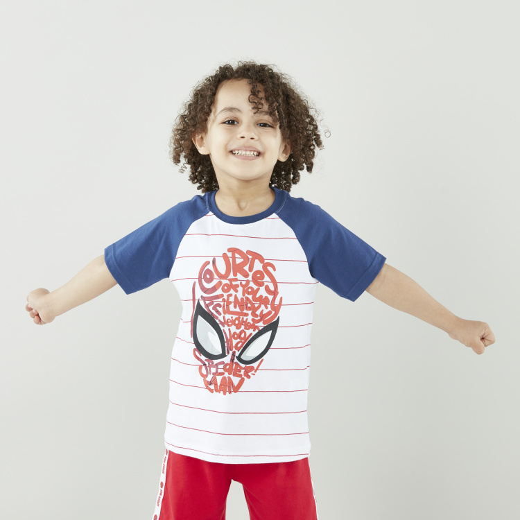 Spider-Man Printed T-shirt with Tape Detail Shorts