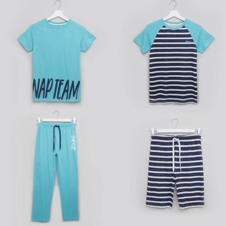 Juniors Striped T-shirt with Short Sleeves and Full Length Pyjama Set