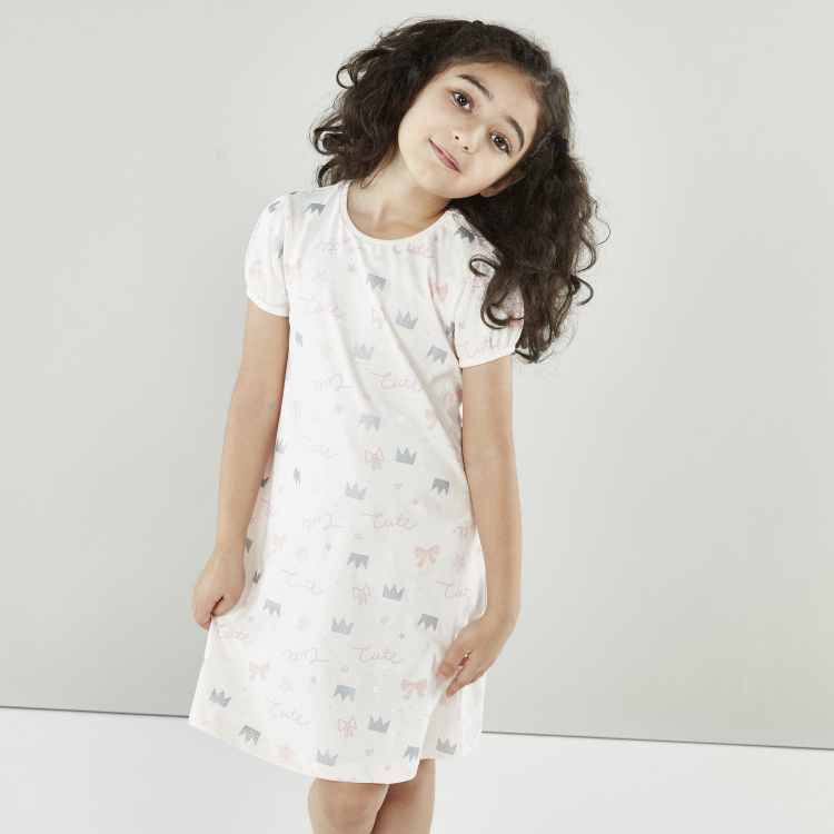 Juniors Printed Night Dress with Short Sleeves - Set of 2