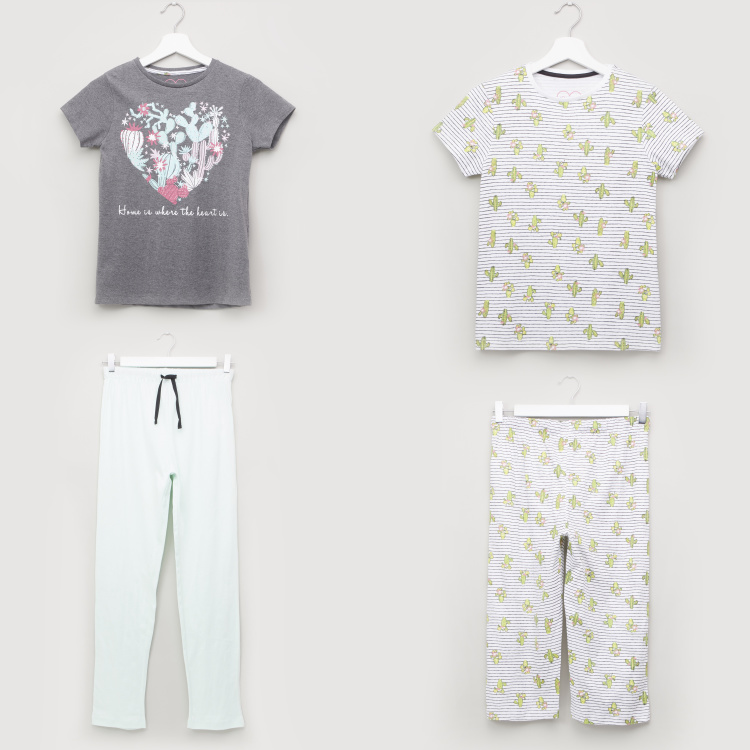 Juniors Printed 4-piece Pyjama Set