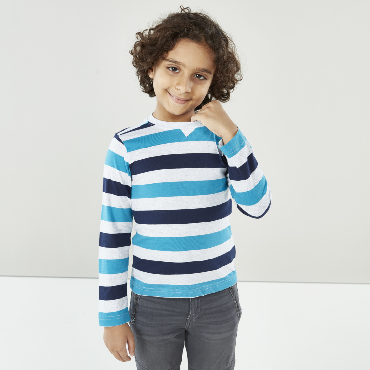 Juniors Striped T-shirt with Long Sleeves