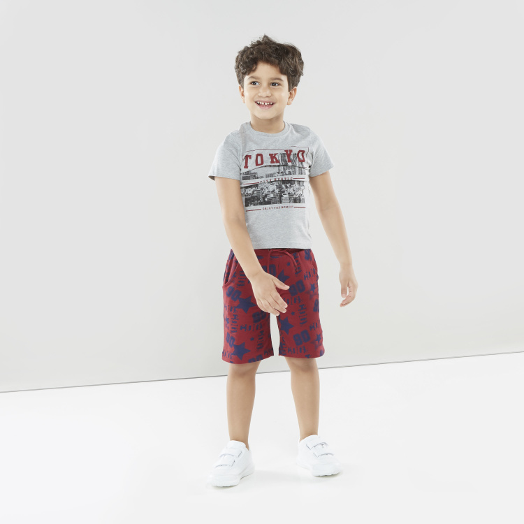 Juniors Printed T-shirt with Round Neck and Short Sleeves