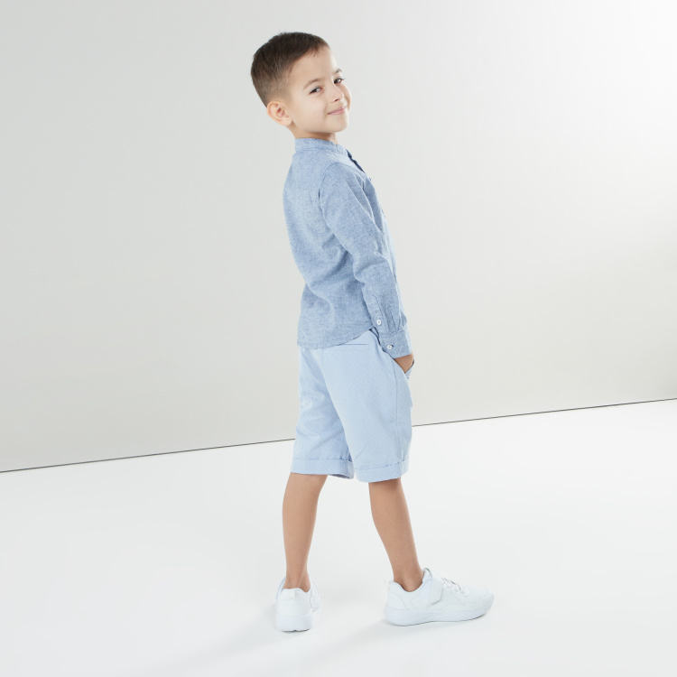 Eligo Shirt with Mandarin Collar and Roll-Up Tabs
