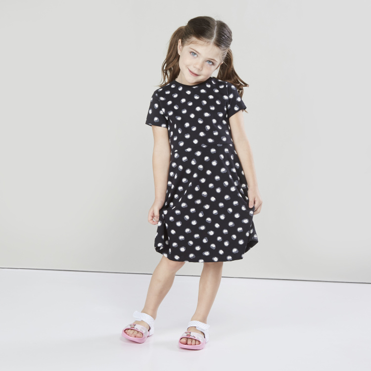 Juniors Printed Dress with Round Neck and Short Sleeves