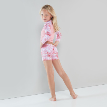 Juniors Printed Raglan Sleeves Swimsuit with Shorts