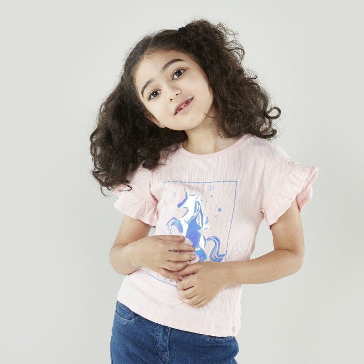 Bossini Printed T-shirt with Round Neck and Frill Sleeves