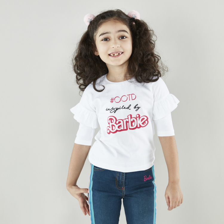 Barbie Printed T-shirt with Round Neck and 3/4 Sleeves