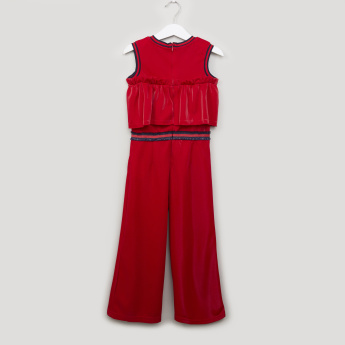 Iconic Textured Sleeveless Jumpsuit with Pocket Detail