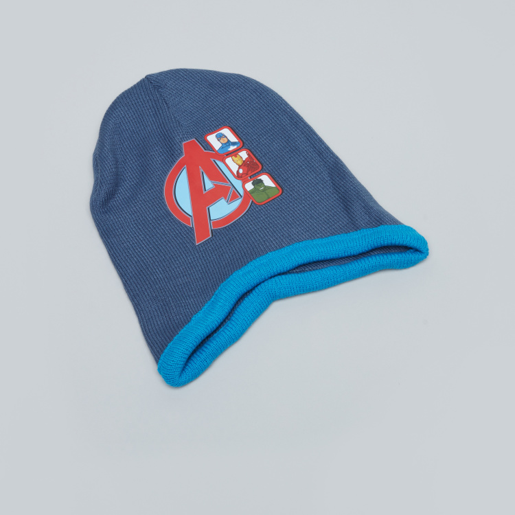 Avengers Printed Beanie Cap with Scarf