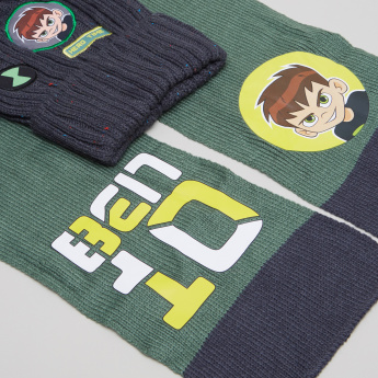 Ben 10 Printed Winter Cap with Scarf