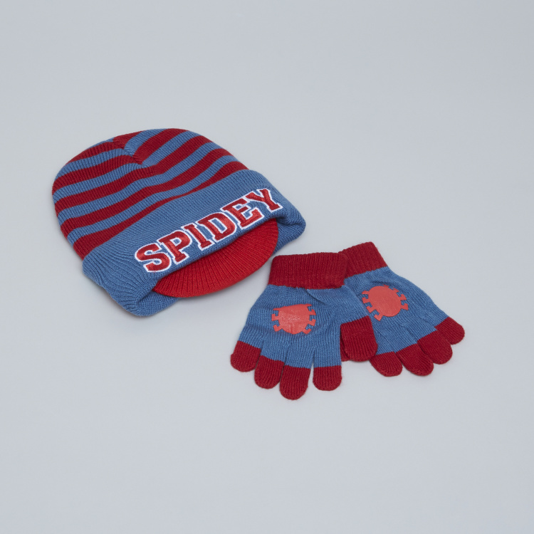 Spider-Man Striped Beanie Cap with Printed Gloves