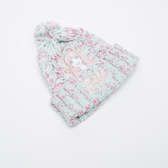Barbie Textured Beanie Cap with Pom-Pom Detail