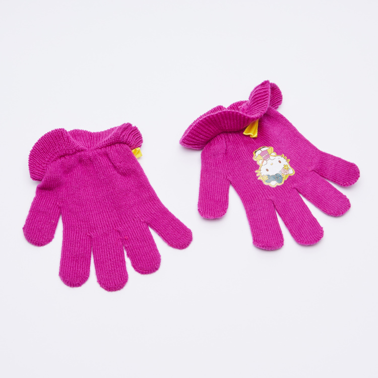 Hello Kitty Applique Detail Winter Cap with Gloves