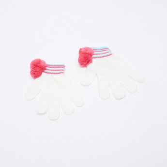 Princess Pom-Pom Detail Beanie Cap with Gloves