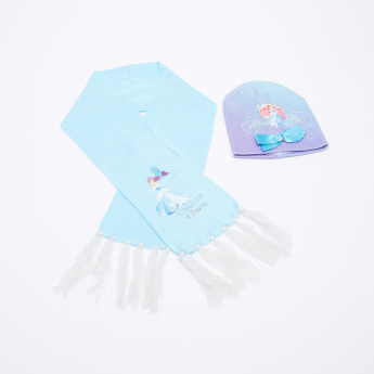 Princess Printed Beanie Cap with Scarf