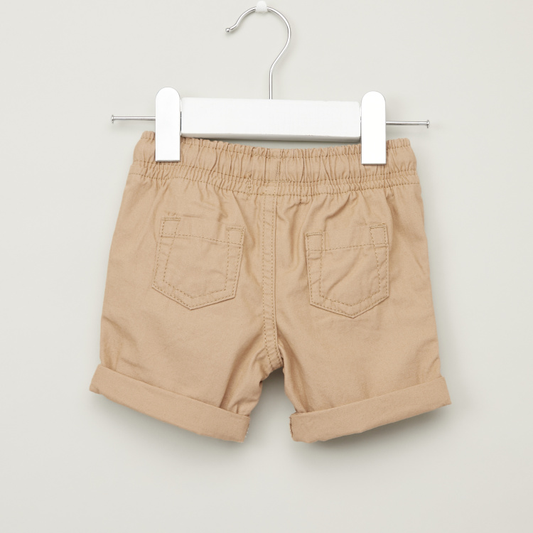 Juniors Solid Shorts with Pocket Detail and Drawstring