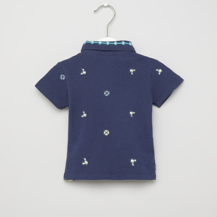 Juniors Embroidered Polo T-shirt with Short Sleeves