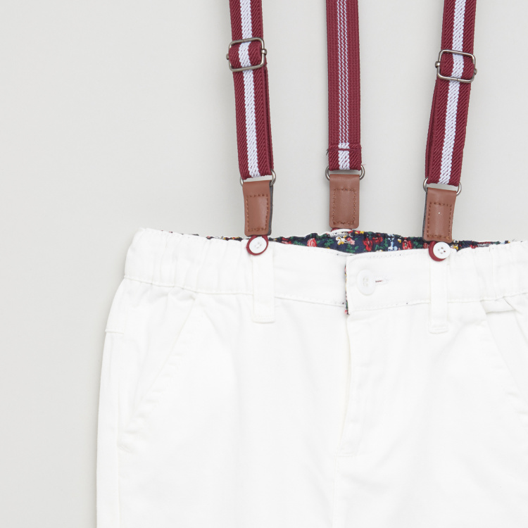 Juniors Solid Pants with Pocket Detail and Suspenders