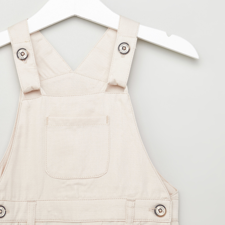 Juniors Textured Dungarees with Pocket Detail