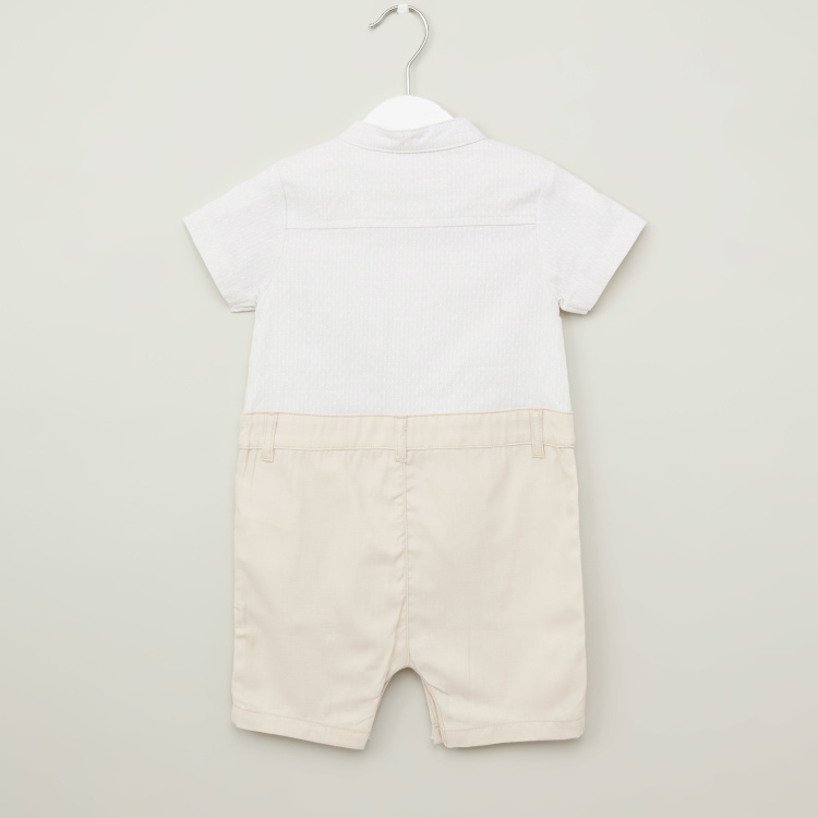 Juniors Textured Romper with Mandarin Collar and Bow Applique Detail