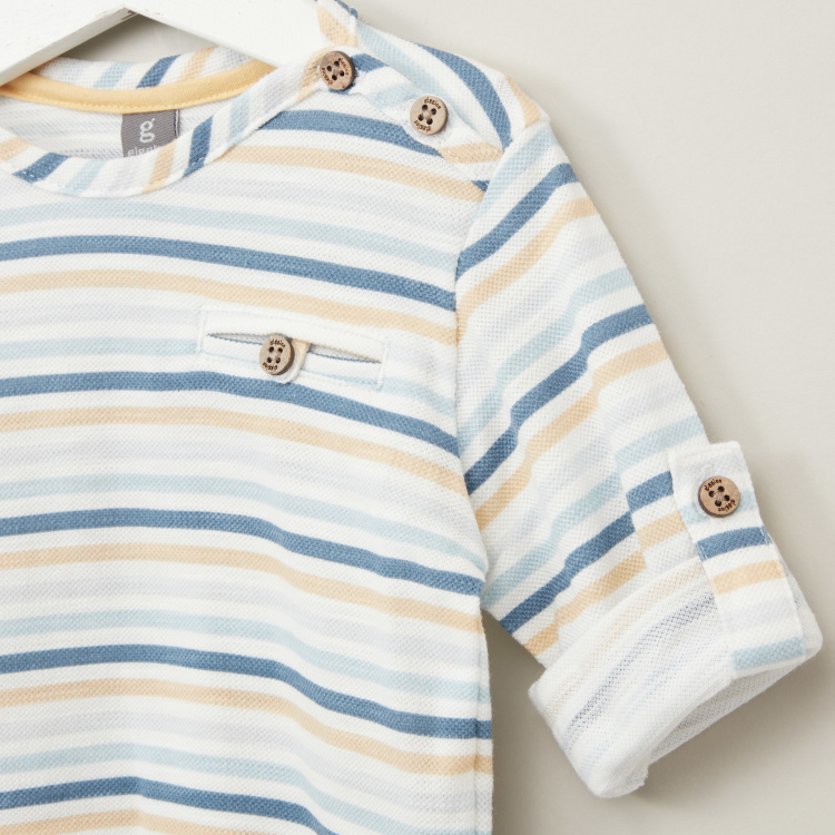 Giggles Striped T-shirt with Long Sleeves