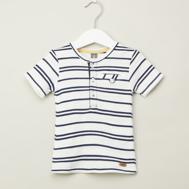 Giggles Striped T-shirt with Round Neck and Short Sleeves