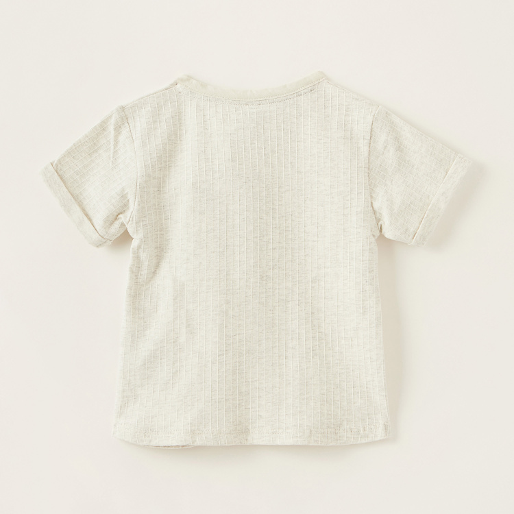 Giggles Striped T-shirt with Henley Neck and Short Sleeves