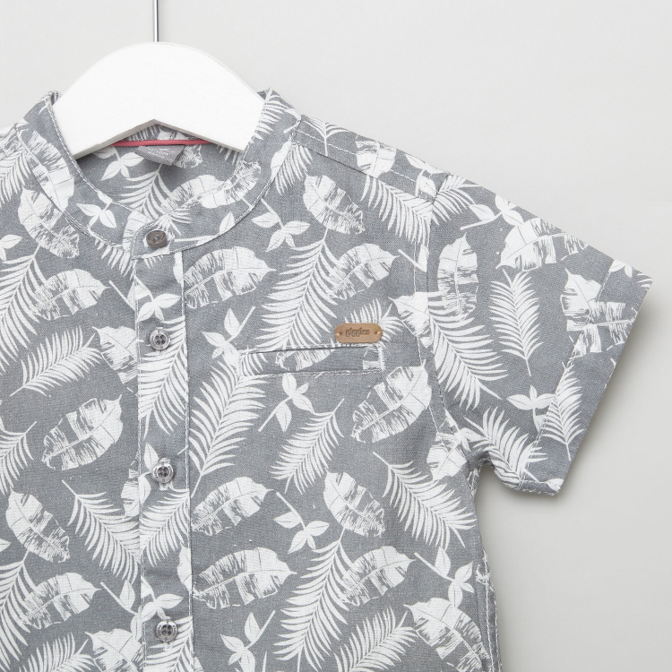 Giggles Printed Shirt with Mandarin Collar and Short Sleeves