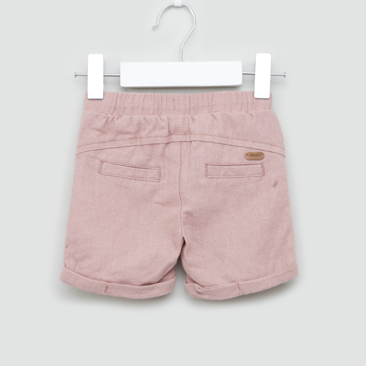 Giggles Solid Shorts with Drawstring and Pocket Detail