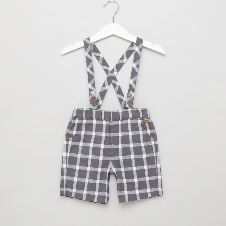 Giggles Solid Bodysuit and Checked Suspender Shorts Set