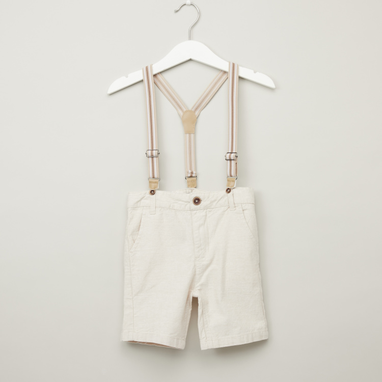 Juniors Textured Shorts with Suspenders and Belt Loops