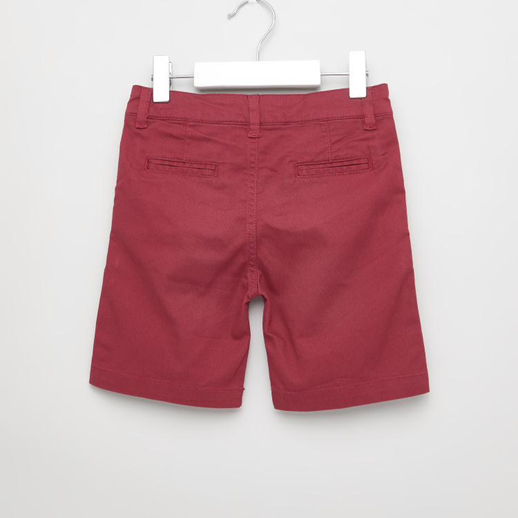 Juniors Solid Shorts with Belt Loops and Pocket Detail