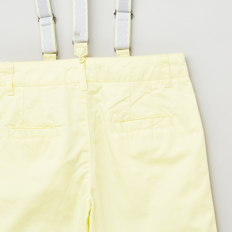 Juniors Solid Woven Shorts with Suspenders