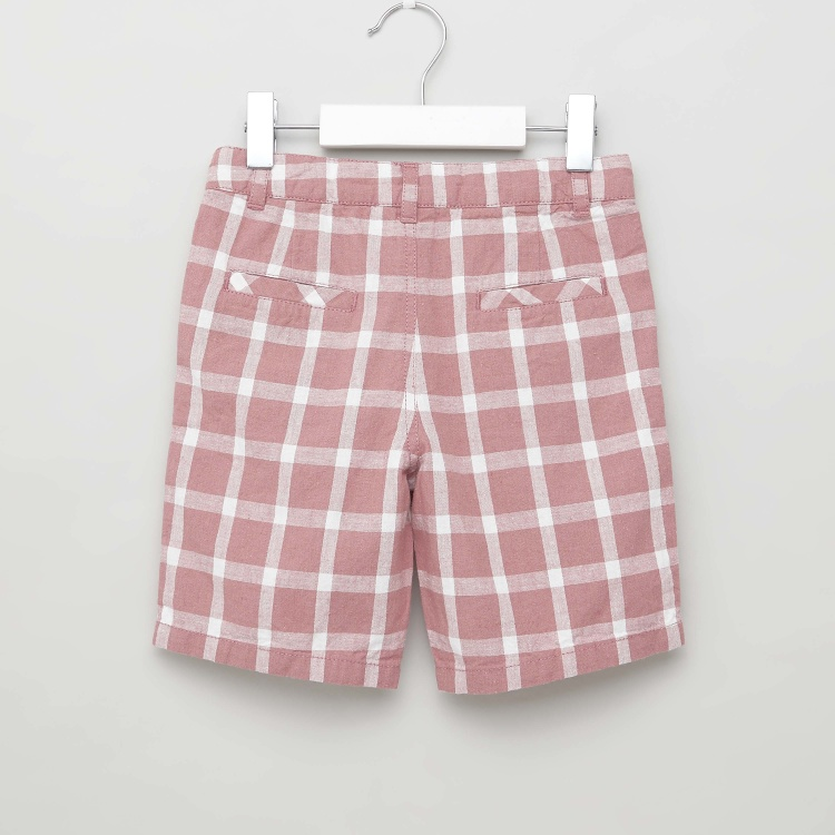 Eligo Checked Shorts with Belt Loops and Pocket Detail