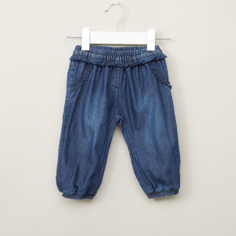 Juniors Pleat Detail Denim Pants