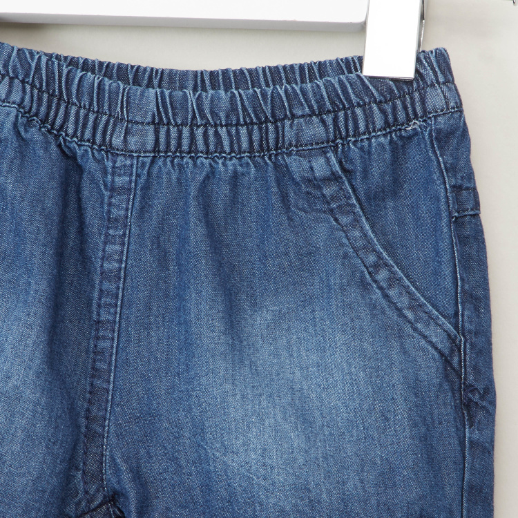 Juniors Chambray Denim Shorts with Bow Applique