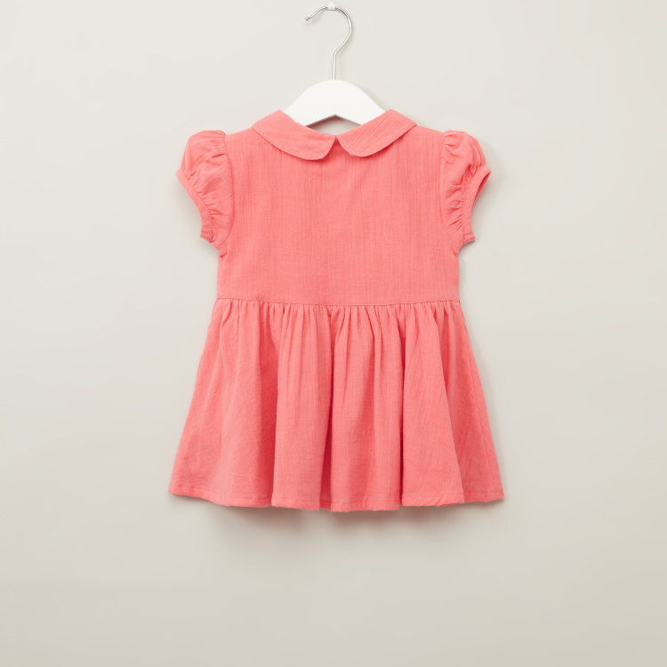 Juniors Solid Dress with Short Sleeves and Embroidery