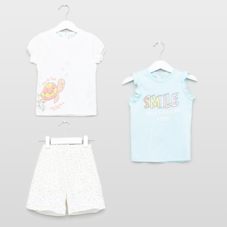 Juniors 3-Piece Top and Shorts Set