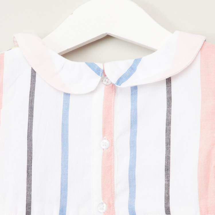Juniors Striped Top with Round Neck and Short Sleeves