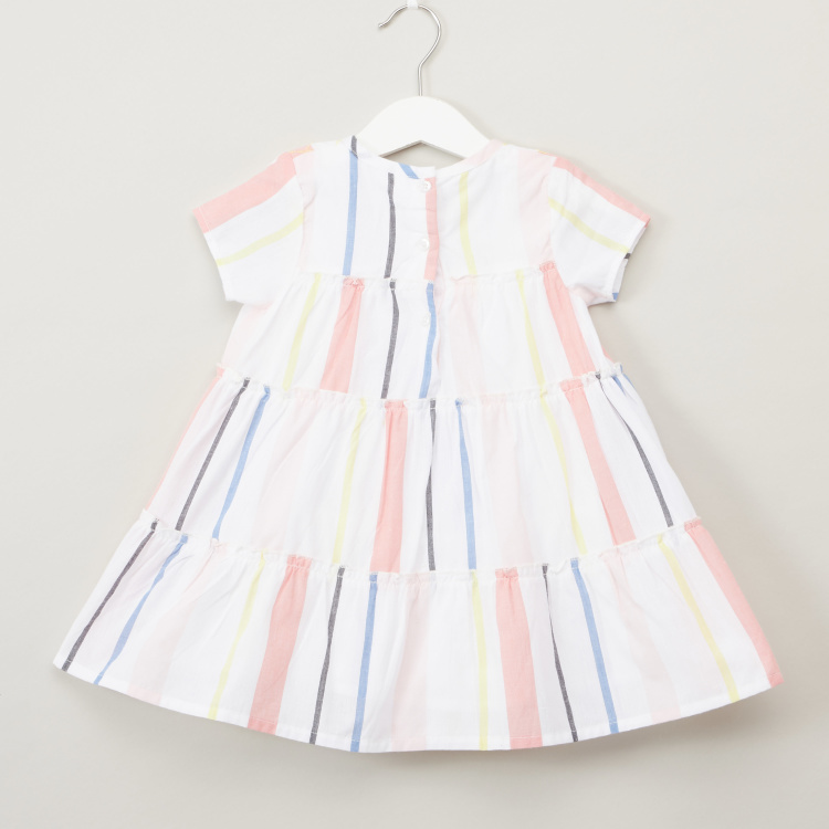 Juniors Stripe Dress with Grid Embroidery