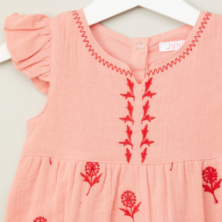 Juniors Embroidered Romper with Cap Sleeves