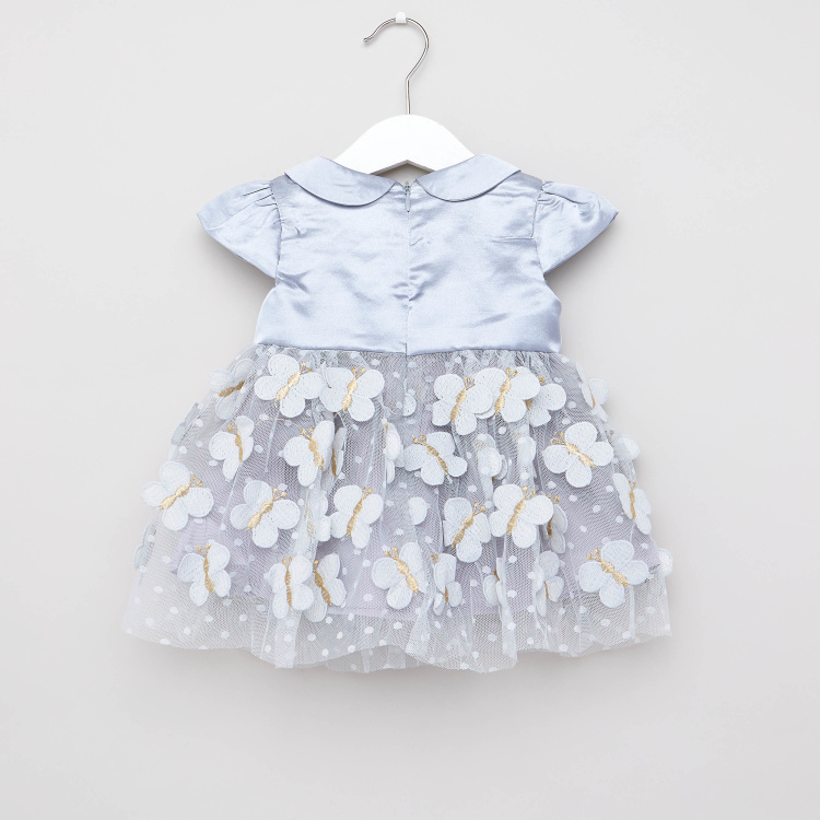 Juniors Butterfly Applique Detail Dress with Peter Pan Collar