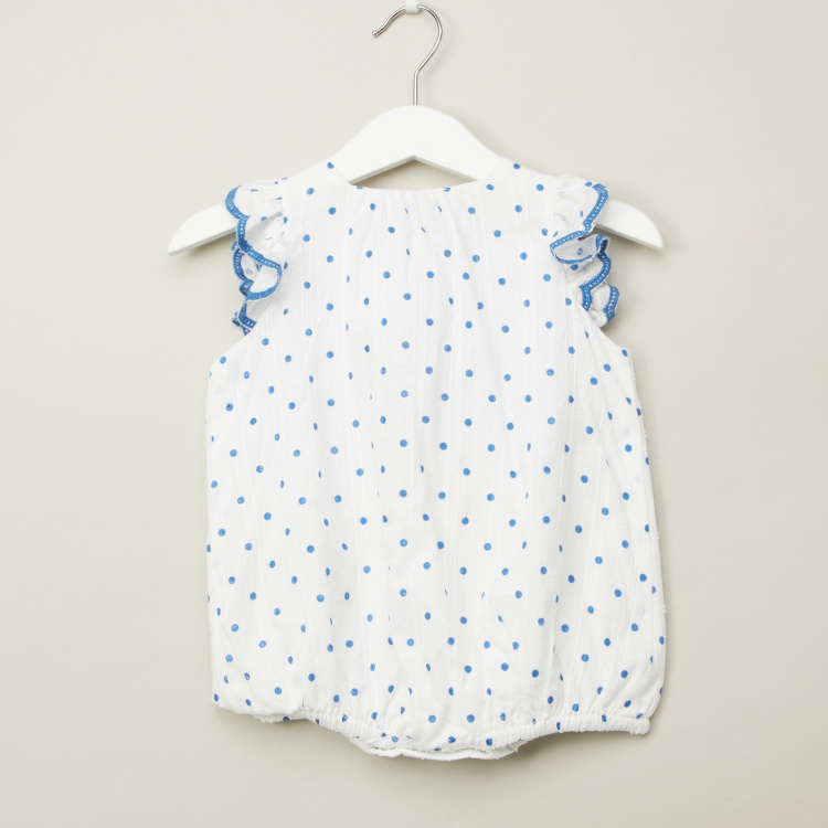 Giggles Polka Dot Print Romper with Round Neck and Frill Cap Sleeves