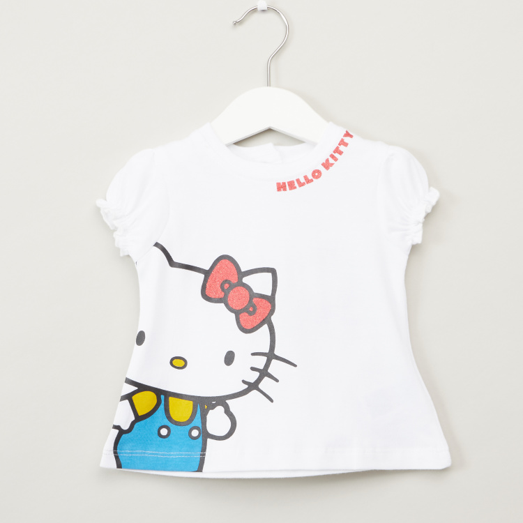 Hello Kitty Print T-shirt with Short Sleeves - Set of 2