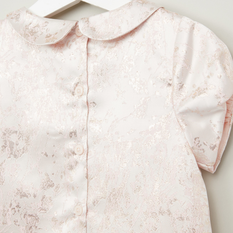 Juniors Textured Top with Peter Pan Collar and Short Sleeves