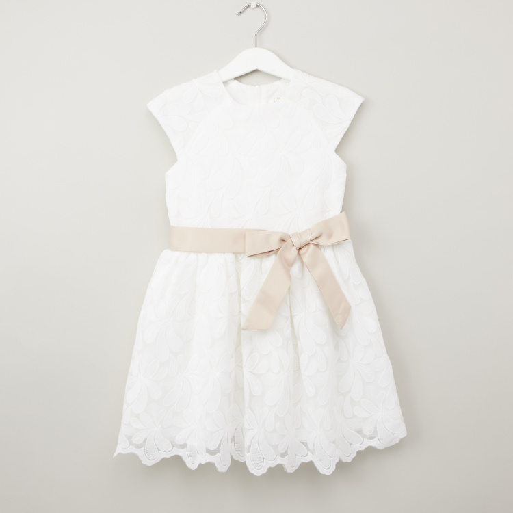 Juniors Textured Dress with Cap Sleeves