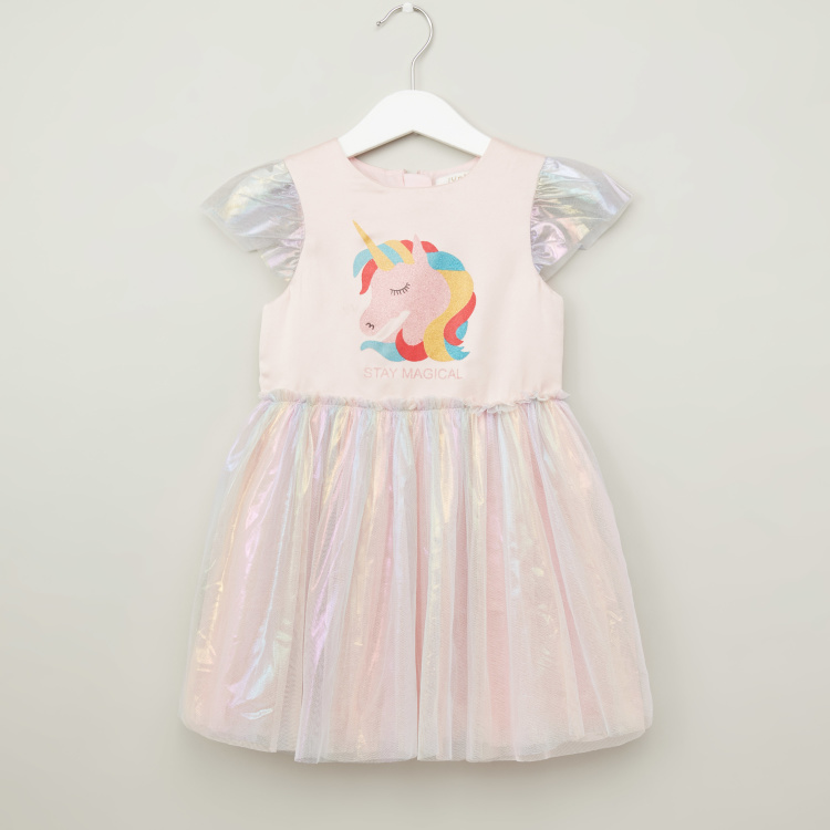 Juniors Unicorn Printed Dress with Round Neck and Cap Sleeves