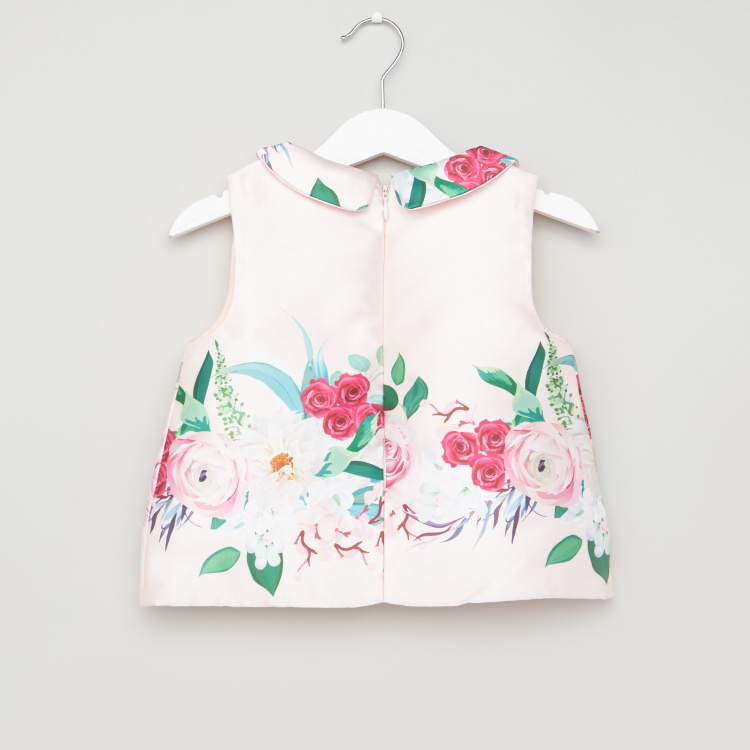 Juniors Floral Print Sleeveless Top with Skirt