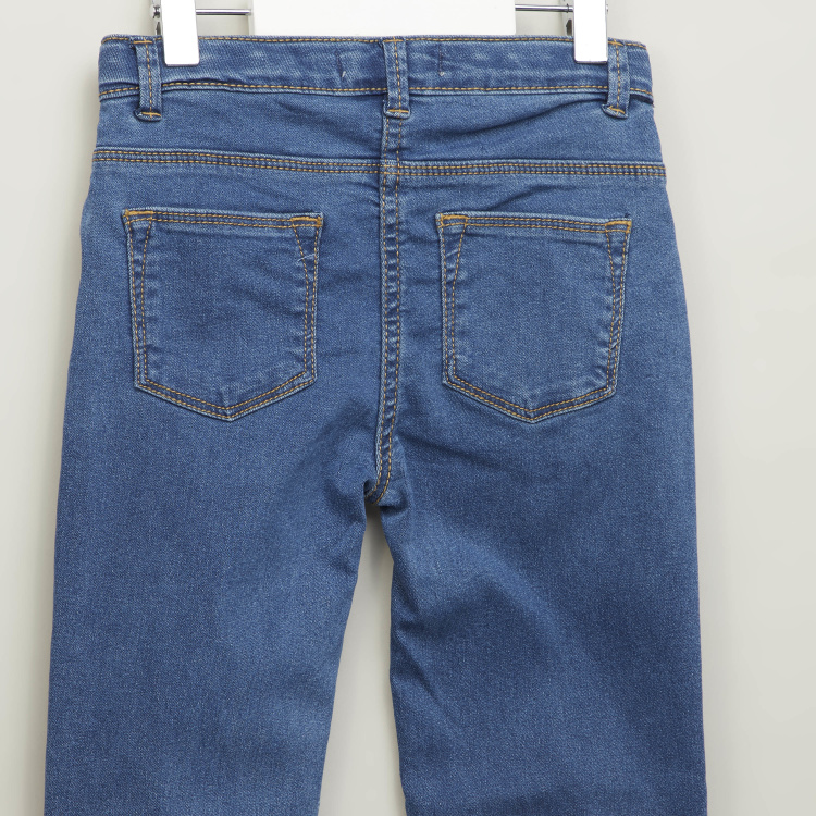 Eligo Textured Jeans with Belt Loops and Pocket Detail