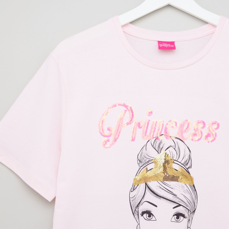 Disney Princess Sequin Embellished T-shirt with Short Sleeves